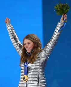 Gold medalist Mikaela Shiffrin of the United States celebrates during the medal ceremony for the Women's Slalom (c) Getty Images