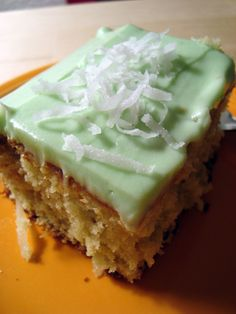 Watergate Cake With Cover-Up Frosting. It's an old recipe that is fabulous! Uses boxed cake mix and instant pistachio pudding. One bowl mixing!!