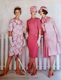 Fashion 1959 pink dress suits 50s 60s color photo print ad style vintage