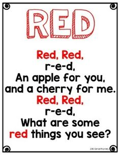 The Color Red Printables Preschool Poems, Kindergarten Poems, Kindergarten Colors, Preschool Colors, Kids Poems, Teaching Colors, Preschool Printables, Preschool Bulletin, Toddler Learning Activities