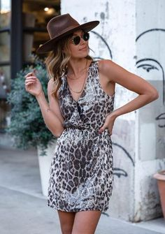 Sequin Leopard Mini Dress 100% Polyester Surplice Top With Snap Elastic Waist Ruched Back Lined In Stock Surplice Top, Leopard Dress, Spring Fashion, Black And Grey, Wrap Dress, Sequins, Elastic Waist, Sexy, Casual