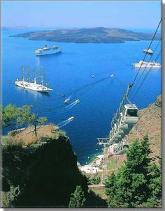 Cable Car - Santorini, Greece.  It's this or ride a donkey.