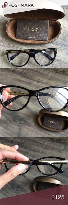 Gucci Havana Gold Cat Eye Glasses GG3652 Bought these lenses with the intent to use them but went with a different pair. The demo lens is still in this pair so you'll need to replace it with your prescription. Please see the last photo to get a better sense of the look of these glasses. They do have a cat eye but it isn't extreme. I also recommend googling the model # to see photos of it on a model.   size: 54-14-130 Gucci Accessories Glasses