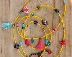 Pietre naturali in blu lunga collana di Gypsy gioielli stile