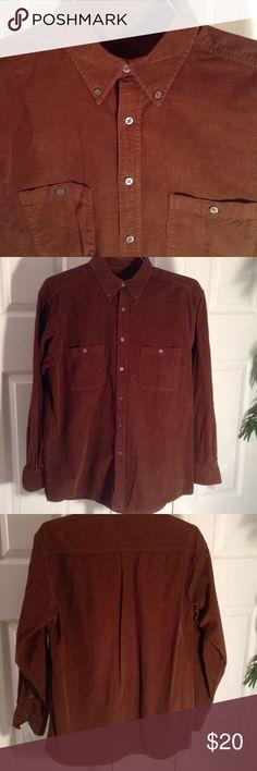 Fine corduroy brown shirt, NWOT Mens Large Talbots Men Shirts Casual Button Down Shirts