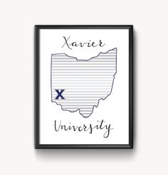 Xavier University Hand Lettered Print 5 x 7 by AmandaLouiseDesign Xavier University, Man Room, Dorm Decorations, Dorm Room, Hand Lettering, Diy Crafts, Rocking Chair, Handmade Gifts, Frame