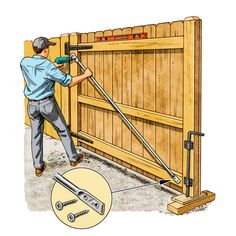 Do Repair Kits for Wood Gates Actually Work? - Do Repair Kits for Wood Gates Actually Work? Wooden Fence Gate, Fence Gate Design, Diy Fence, Backyard Fences, Fence Gates, Building A Gate, Gate Hardware, Diy Home Repair, Driveway Gate