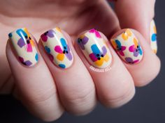 Chalkboard Nails: My Bright Easter Floral (floral technique by Mr. Candiipants)
