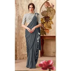 Look gorgeous in this Dark Grey Color Lycra Lehenga Style Party Wear Saree Blouse. Half Saree Lehenga, Saree Gown, Lehenga Style, Saree Blouse Patterns, Designer Blouse Patterns, Saree Blouse Designs, Saree Draping Styles, Saree Styles, Fancy Sarees