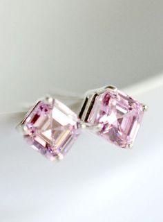 Pink Asscher cut cubic zirconia stud earrings