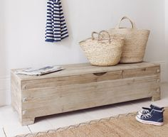 The Croquet storage ottoman was inspired by an old croquet box that our Charlie has in his shed. Our lovely one is made from reclaimed fir.