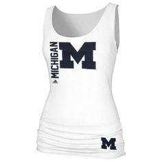 adidas Michigan Wolverines Ladies Letter-Banded Tank Top - White