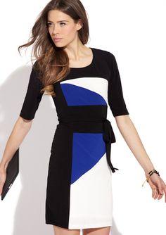 Cobalt blue black and white color block dress  SANDRA DARREN Elbow Sleeve Tie Waist Dress