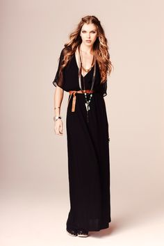 I love this 70's bohemian trend with simple black. #cynthiavincent