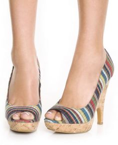 """not digging the pattern but i love love love the cork """"not quite wedges, not quite stilletos"""" peeptoe"""