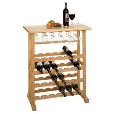 Winsome Wood 83024 24 Bottle Wine Rack With Glass