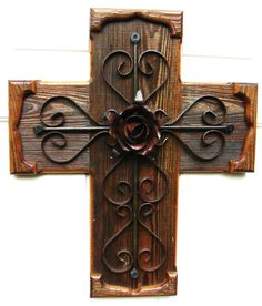 PC021 Large Rustic Brown Wood and Iron Cross by DiaMorDecor, $85.00