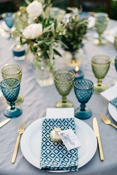 Rustic Blue Wedding Table Setting DIY Centerpiece in teal and olive green from wedding on the Greek island of Santorini destination wedding Wedding Table Themes, Wedding Favor Table, Wedding Table Settings, Wedding Favors, Wedding Decorations, Greek Wedding Theme, Food Table Decorations, Wedding Reception, Wedding Banners