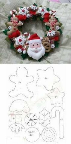 Aprenda como fazer 100 Enfeites de Natal em Feltro com Moldes para decoração natalina Descubra aqui o Artesanato em Feltro para dec. Felt Christmas Decorations, Felt Christmas Ornaments, Christmas Wreaths, Christmas Makes, Christmas Holidays, Christmas Projects, Holiday Crafts, Fun Crafts, Diy Cadeau Noel