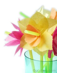 Fun Spring Flowers! -Today I'm putting together a fun drinking straw bouquet of spring flowers.