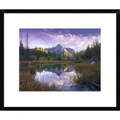 Global Gallery Mount Lorette and Spruce Trees Reflected in Lake, Alberta, Canada by Tim Fitzharris Framed Photographic Print Size: