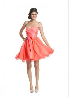 Cheap and Australia 2016 Watermelon A-line Sweetheart Neckline Sequins Belt Organza Mini Length Homecoming/ Evening Dress/ Prom Dresses CS1372 from Dresses4Australia.com.au