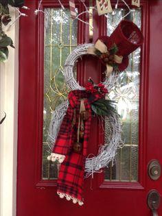 Grapevine snowman wreath.