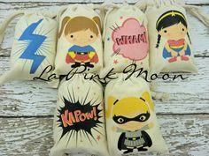 Personalized Muslin Bags Girls Super Heroes Birthday Sacks Cotton drawstring Treat or gift Qty 6. $12.00, via Etsy.