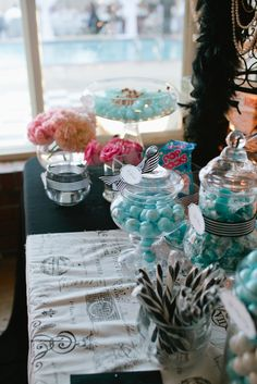 Candy Table Tiffany Blue, white, and black