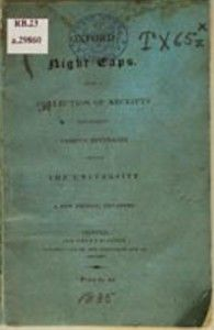 This is the first known—to date—volume dedicated entirely to mixed drinks in the English language. Oxford Night Caps: A Collection of Receipts for Making Various Beverages Used in the University was published a number of times between 1827 and 1931 to aid Oxford University students in mixing proper beverages for their on- and off-campus gatherings. The soft cover format remained the same from edition to edition and so did the drinks for the most part.
