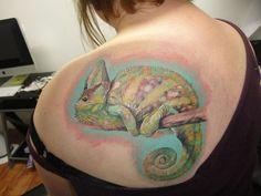 tattoos tattoo studio forward chameleon # tattoo toni lou at no pain . Chameleon Tattoo, Veiled Chameleon, First Tattoo, I Tattoo, Tattoo Studio, True Colors, Watercolor Tattoo, Piercings, Ink