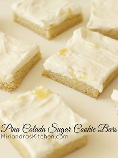 These Pina Colada Cookie Bars are the perfect pineapple and coconut dessert. Chewy coconut scented sugar cookies are topped with a fruity buttercream.  The buttercream is kid friendly but I do give a more grown up option in the notes if you would like one