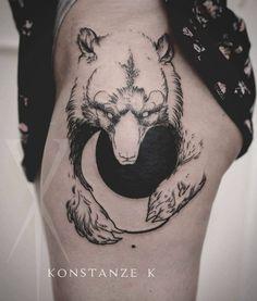 moon bear tattoo on hip by Hip Tattoos Women, Sleeve Tattoos For Women, Trendy Tattoos, Popular Tattoos, Famous Tattoos, Bear Tattoo Meaning, Tattoos With Meaning, Bear Tattoos, Animal Tattoos
