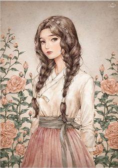 watercolour illustration girl with braids pink roses Illustration Girl, Watercolour Illustration, Illustration Fashion, Anime Art Girl, Anime Girls, Aesthetic Art, Cartoon Art, Cute Drawings, Cute Art