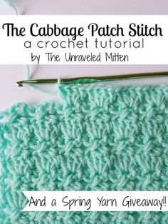 The Cabbage Patch Stitch This crochet pattern / tutorial is available for free. Full post: The Cabbage Patch Stitch Crochet Stitches Patterns, Knitting Stitches, Stitch Patterns, Unique Crochet Stitches, Loom Knitting, Crochet Blanket Stitches, Free Knitting, Knitting Patterns, Crochet Shell Stitch
