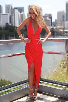Red Deep V Front Asymmetrical Dress   USTrendy