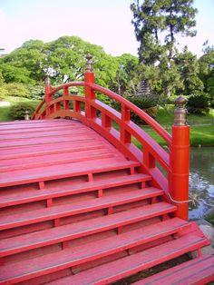 red bridge japanese garden