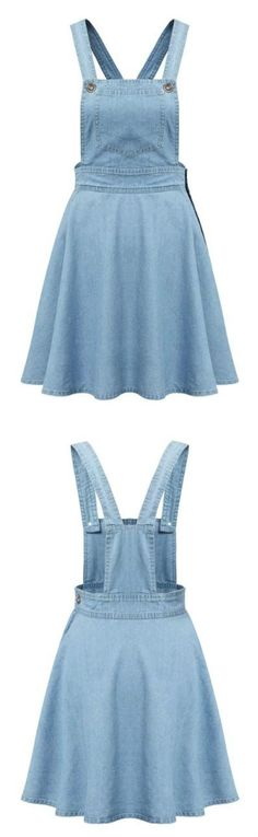 The denim suspender dress features side buttons and patch pockets, it's fit for daily wear or other casual ocassions. You could get more surprise at Azbro! I Dress, Dress Outfits, Casual Dresses, Cool Outfits, Girls Dresses, Cute Fashion, Girl Fashion, Hijab Fashion, Fashion Dresses
