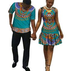 African New Mini Dresses for Couple Man and Woman Clothing dashiki set for Lover - African Fashion Dresses African Fashion Skirts, African American Fashion, African Fashion Designers, African Print Fashion, Africa Fashion, Couples African Outfits, Couple Outfits, African Attire, African Wear