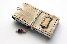 Vintage style pocket size real leather journal by MonkEyGstudio,