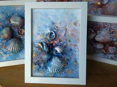 Seashell painting, Original Painting, Blue, Sea* Small abstract painting, Mixed media acrylic painting, Abstract mixed media, Seashell art*
