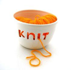 Knitting Yarn Bowl KNIT. $34,00, via Etsy.