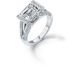 www.garrard.com, Garrard, engagement ring, bride, bridal, fiance, wedding, marriage, diamond ring, gold ring, platinum ring, THE DECO SETTING. Emerald cut, 2.78 carat diamond Engagement Rings Collections Garrard
