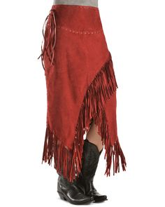 Scully Suede Leather Fringe Skirt, Red, hi-res Suede Fringe Skirt, Leather Fringe, Suede Leather, Leather Skirt, Leather Halter, Fringe Boots, Contemporary Fashion, Unique Fashion, Bohemian Fashion