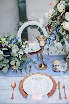 romantic blue and copper wedding inspiration | Ais Portraits | Glamour &…
