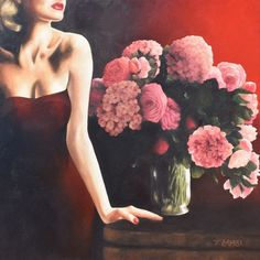 Original, Fine Art: Red Velvet by Trisha Lambi, Formalist, 90 x 90 cm, $3960AUD -  Favourite flowers from my Mother's garden inspired this piece which creates a strikingly luscious tableau when combined with strong lighting. http://goo.gl/cNsydv