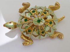 Turtle Brooch Enamel Mint Green Emerald Crystals Crystals Vintage Gold Tone  Pin by UnderTheBaobobTree on Etsy