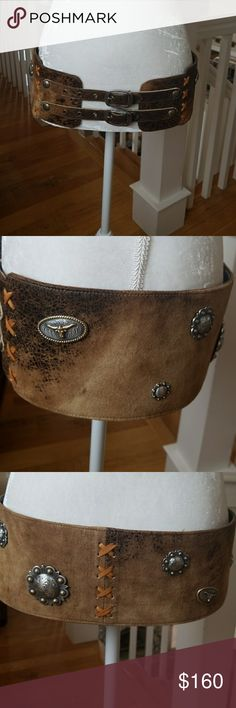 Patricia Wolf Concho Waist Belt BEAUTIFUL,ONE OF A KIND,ALL LEATHER,BEAUTIFUL CONCHOS.I SEE HER WITH DENIM SHIRT,JEANS,HEELS,OR BOOTS.SHE WILL DRESS UP OR DOWN..IN BEAUTIFUL CONDITION.. Patricia Wolf Accessories Belts