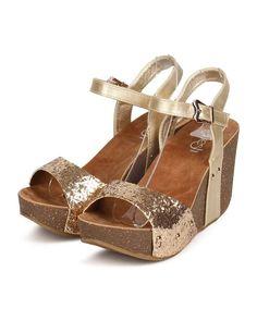 New Women Refresh Mara-08 Glitter Open Toe Studded Ankle Strap Wedge Sandal #Refresh #PlatformsWedges