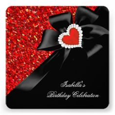 Glitter Royal Regal Red Heart Bow Black Party 2